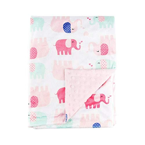 N2 Beautiful Girls Pink Blue White Baby Elephant Blanket, Animal Themed Nursery Bedding, Infant Child Warm Soft Safari Jungle Nature Dots Pattern Hearts Love Cute Adorable, Cotton