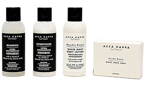 Acca Kappa White Moss Body Lotion, Shampoo, Conditioner & Soap Travel & Gift Set