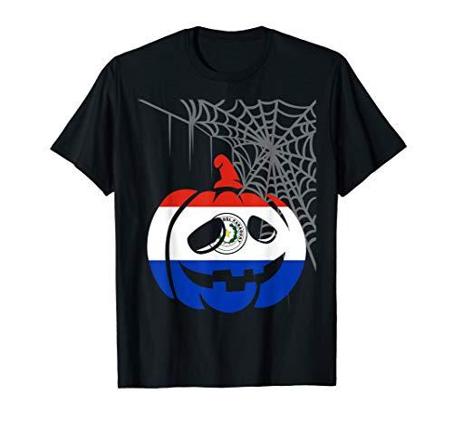 Camisa de Paraguay Halloween Costume Flag Pumpkin