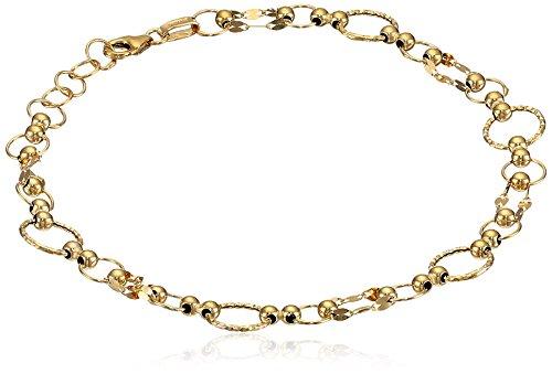 14k Yellow Gold Italian Multi-Circle and Mirror Chain Bracelet, 7