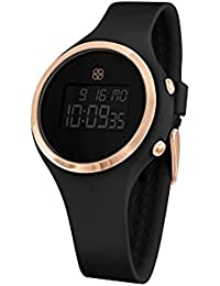 Digital Wrist Watch for Women, Silicone Band, Black & Rose Gold Face
