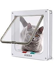 4 Way Locking Cat Door, Lockable Cat Flap Doors for Cats and Small Dogs, Installing Easily, Suitable for Glass, Wooden, Brick, Metal Door and Window, Transparent