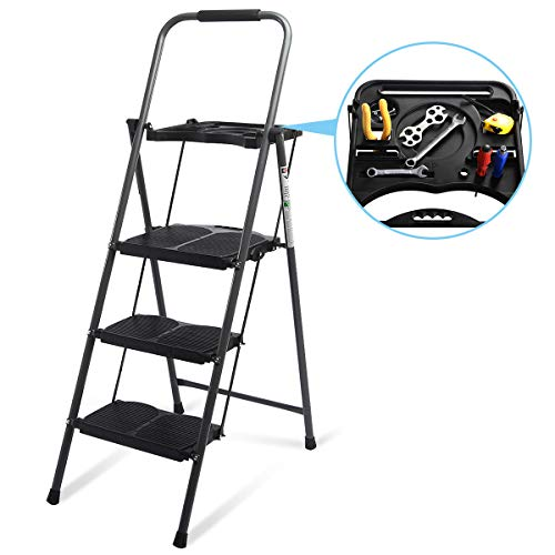 Giantex 3 Step Ladder Folding Ladder Stool with Tool Platform 330 LBS Capacity Space Saving Foldable Ladder W/tray
