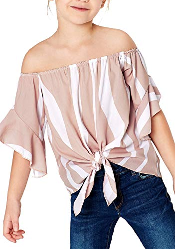 Striped Off The Shoulder Top Girls Vertical Stripes Off Shoulder Tie Knot Casual Chiffon Blouse Tops Pink XXL (12-13) - Girls Striped Top Shirt