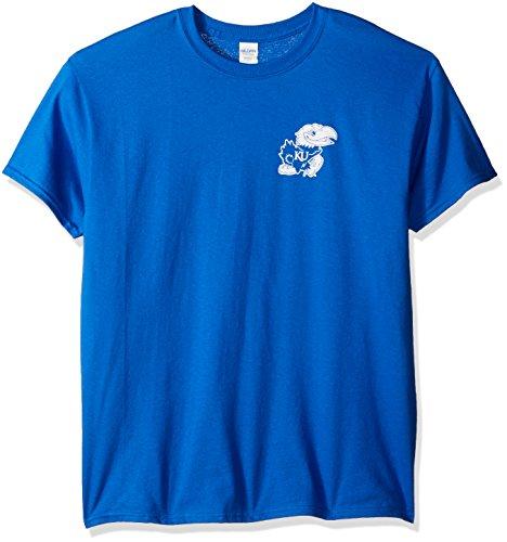 NCAA Kansas Jayhawks Adult Stripe Nation Short sleeve, X-Large, Royal - Kansas Jayhawks Ncaa Stripes