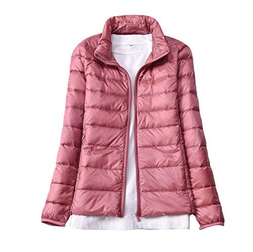 Giacche Donna Piumino Ultraleggeri Casual Cappotto Rosa1 Giacca Slim Fit Richiudibile Corto Inverno Trapuntato a6wx46dqB