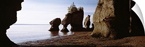 Canvas on Demand Wall Peel Wall Art Print entitled Canada, New Brunswick, Hopewell Cape, Flower Pot Rocks on the beach 36