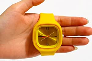 Shot-in Yellow Oversized Colorful Jelly Candy Sports Quartz RUBBER Wrist Watch UNISEX Men WOMAN