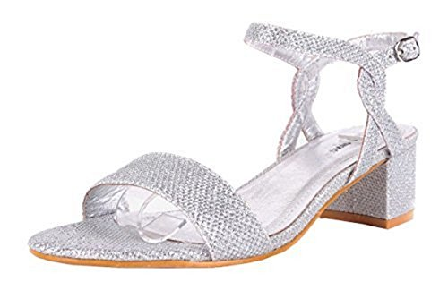 SHU CRAZY Womens Ladies Shimmer Glitter Ankle Buckle Strap Low Block Heel Party Evening Dressy Sandals Shoes - M91 Silver UBwlmUN