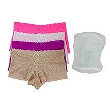 Barbra's 4pack Regular&Plus Size Lace Boyshorts Panties(with Laundry Bag)