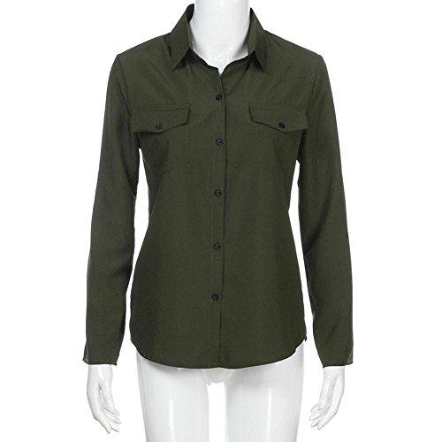 Arme Mode Femmes Shirt Longues Tops Contrast Col Ansenesna Blouses Verte Chemises Minces Denim T Manches TgqCpwOx