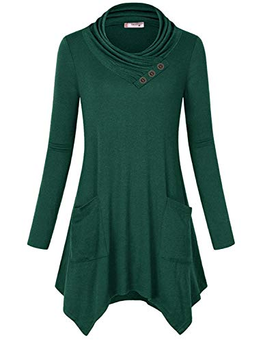 Tanst Womens Cowl Neck Long Sleeve Asymmetric Hem Tunic Tops with Pockets