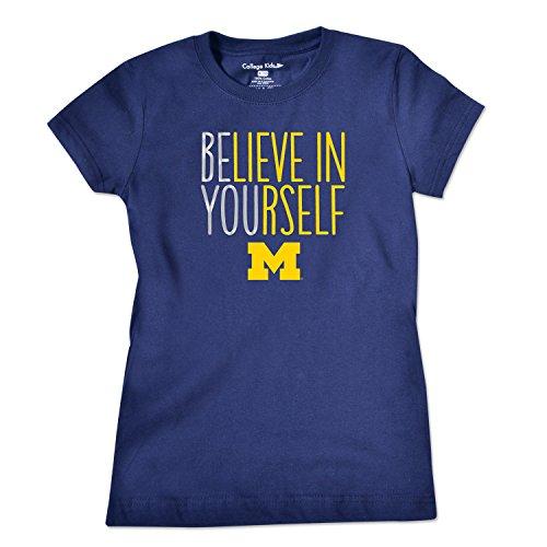 [NCAA Michigan Wolverines Girls Short Sleeve Tee, Size 7/X-Small, Navy] (Michigan Wolverines Clothing)