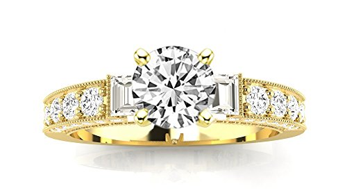 1.49 Carat 14K Yellow Gold Round Half Bezel Baguette Round Cut Diamond Engagement Ring (0.99 Ct K Color SI1 Clarity Center Stone) ()