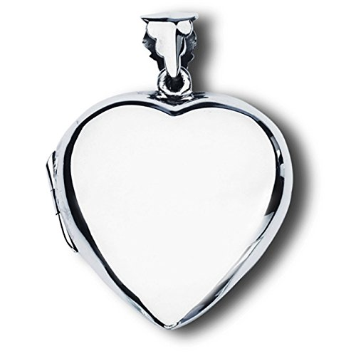 Sterling Silver Girls 16'' .8mm Box Chain Large Engraveable Plain Heart Locket Pendant Necklace by Auntie's Treasures