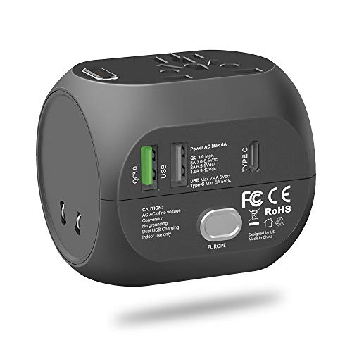 Quick Charge 3.0 Travel Adapter, UPPEL Universal International Power Adapter Ports Converter 5V 6A 30W USB Type-C Wall Charger, AC Outlet Plug Adapters for Europe, UK, US, AU, Asia ()