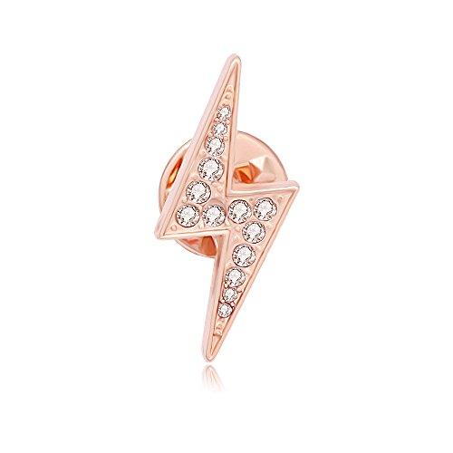 MANZHEN Gold Silver Lightening Bolt Crystal Lapel Pin Brooch(Rose Gold)