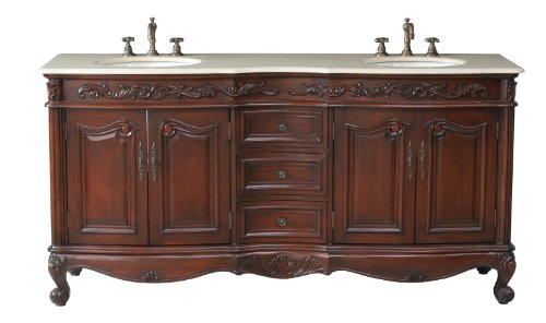 Cream Marfil Marble - Stufurhome GM-3323-72-CM 72-Inch Saturn Double Vanity in Dark Cherry Finish with Marble Top in Cream Marfil with White Undermount Sinks