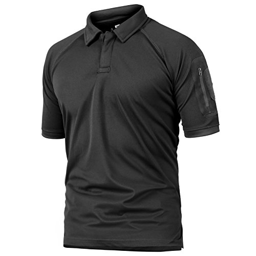 ReFire Gear Men's Army Tactical Polo Shirt Military Outdoor Sport Short Sleeve T Shirt, Black, US X-Large(Tag 3XL) ()