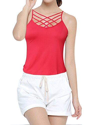 sourcingmap Mujer Con correas Front Sin mangas Jersey Parte Superior De La Cami Rojo