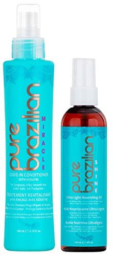 PURE BRAZILIAN Leave-in Conditioner & Ultra-Light Nourishing Oil - The Perfect Combo to Strengthen And Protect Your Hair (6.78 Ounce / 200 Milliliter) by Pure Brazilian (Image #2)