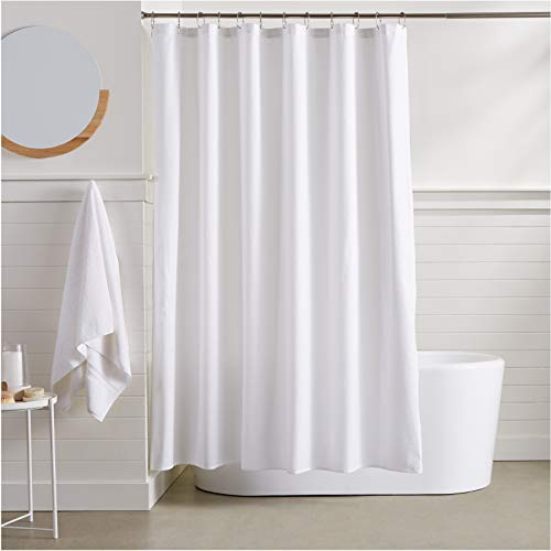 AmazonBasics Waffle Weave Shower Curtain - 72 Inch, White