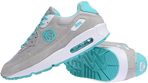Paperplanes-1101 Moda Unisex Colorido Air Cushion Trendy Sneakers Zapatos Grey Mint