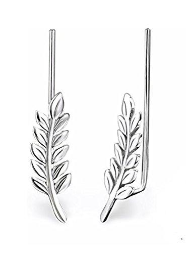 Best Wing Jewelry .925 Sterling Silver Leaf Ear Pin/Ear Climber/Ear Crawler Earrings (028625) by Best Wing Jewelry (Image #3)