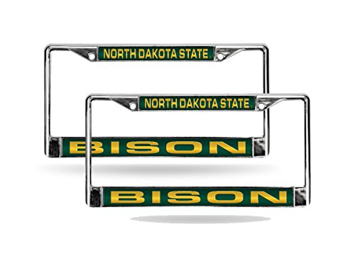 Rico North Dakota State NDSU Bison Chrome Metal (2) Laser Cut License Plate Frame Set ()