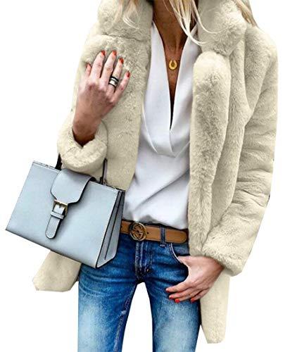 Pelliccia Sicurezza A Bavero Cappotto Outwear Caldo Maniche Soprabito Womens Lunghe Invernale Volpe Di Finta Albicocca Di APTqdwF