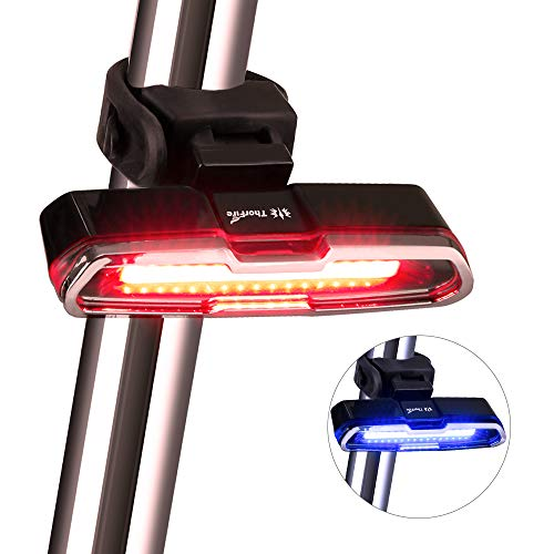 Thorfire Bike Tail Light, Bike Light USB Rechargeable, Red/Blue 5 Light Modes Bicycle Rear Light Headlights High Intensity LED Cycling Safety Flashlight Light Fits on Bikes, Helmets, Easy to Install