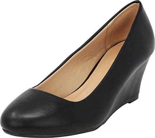 Cambridge Select Women's Classic Slip On Ballet Mid Wedge Heel Pump (7 B(M) US, Black PU)