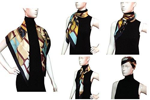 FERETI Foulard multicolore Noir soie satin main roulé polychrome avec certificat