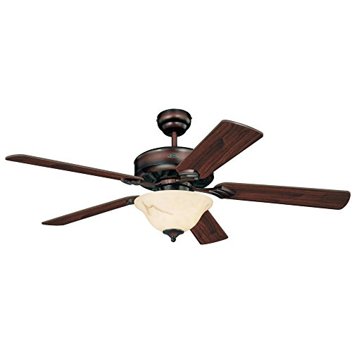 Westinghouse Lighting 7879920 Bethany One-Light 52-Inch Five-Blade Ceiling Fan, Rustic Bronze with Crème Agate Globe