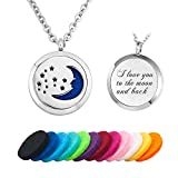 Infinite Memories - I Love You to The Moon and Back - Pendant Essential Oil Diffuser Necklace Aromatherapy Locket Women Men Gift