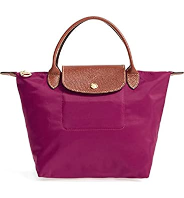 Image Unavailable. Image not available for. Color  LongChamp Women s Le  Pliage Dahlia Purple Small Bag Nylon Leather 15971b01b0