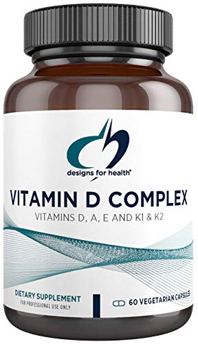 Designs for Health Vitamin D Complex – 2000 IU D3 with Vitamin A, E, K1 + K2, Fat Soluble Vitamin Blend – BPA Free Glass Bottle (60 Capsules)