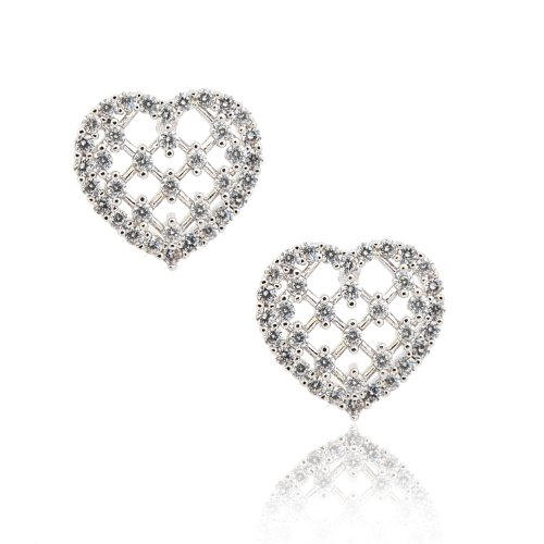 Tiffany Pave Earrings - Silver Plated Pave Cubic Zirconia Bridal Weaved Heart Earrings