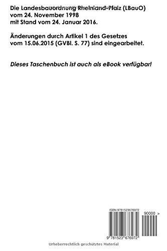 Landesbauordnung Rheinland Pfalz Lbauo 3 Auflage 2016 Amazon De