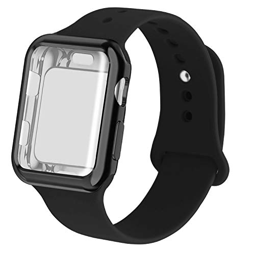 RUOQINI Smartwatch Band with Case Compatiable for Apple Watch Band, Silicone Sport Band and TPU Case for Series 4/3/2/1,Black Band with Black Case in 42ML Size