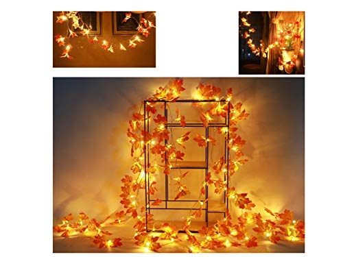 Maple Harvest Deco, Fall Decorations,Fall Garland,Fall Wreath,Thanksgiving Decorations,Christmas Decor Lighted Fall Garland | 30 lights/10 feet, 40 lights/13 feet,80 lights/32/feet (40LED 13FEET)