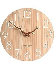 12 inch Arabisch cijfer ontwerp houten wandklok, ronde rustieke landelijke stijl wandklokken, stille niet-tikkende, batterij-bediening, vintage woondecoratie