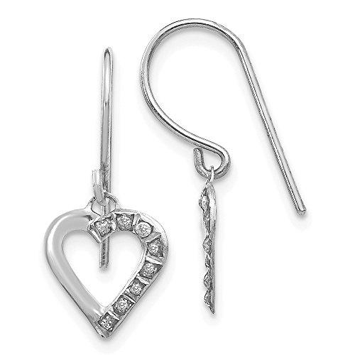 (14k White Gold Diamond Fascination Heart Drop Dangle Chandelier Earrings Love Fine Jewelry Gifts For Women For Her)