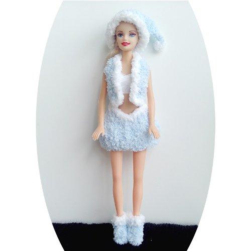 Santa Barbie Dress, Handmade Knitting Yarn Dress. (light-blue)