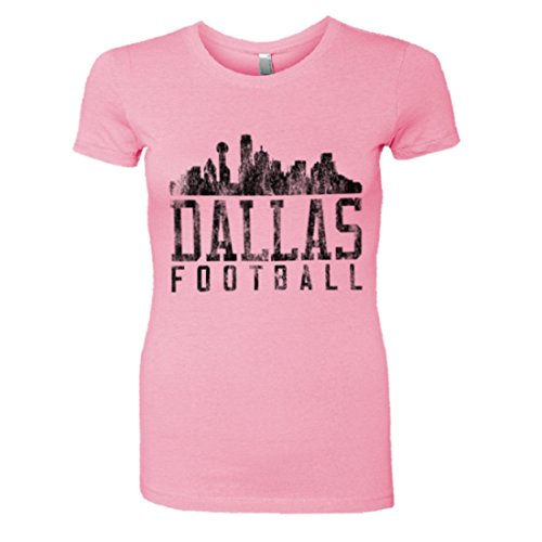 - PleaseMeTees Womens Dallas Football Skyline Sports Distressed HQ Tee-Pink-M