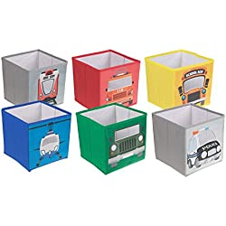 Army Jeep, Firetruck, Helicopter, Police Car, School Bus, Train, 6 Vehicle Collapsible Storage Organizers by Clever Creations | Folding Storage Box | Perfect Size Chest for Books, Shoes & Games