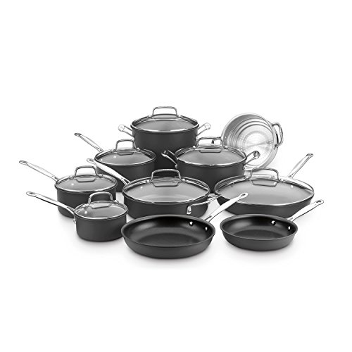 Cuisinart Anodized Cookware - Cuisinart 66-17N Chef's Classic Non-Stick Hard Anodized, 17 Piece Set, Black
