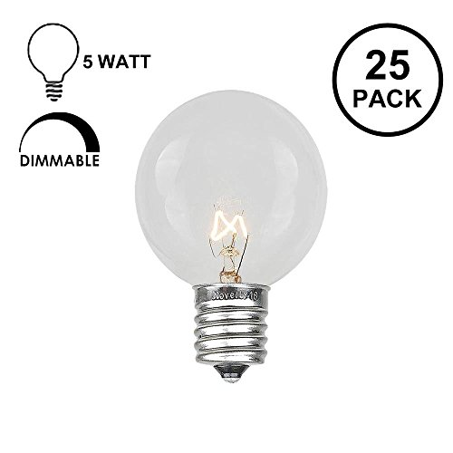 Novelty Lights 25 Pack G30 Outdoor Globe Replacement Bulbs, Clear, C7/E12 Candelabra Base, 5 Watt (Clear Globe Candelabra Base E12)