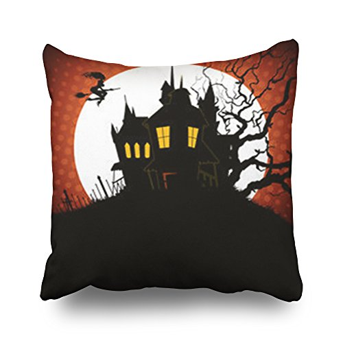 Throw Pillow Covers Moon Castle Textures Halloween Square Size 20 x 20 Inches Decorative Pillow Cases Home Decor Zippered Cushion Pillowcases]()