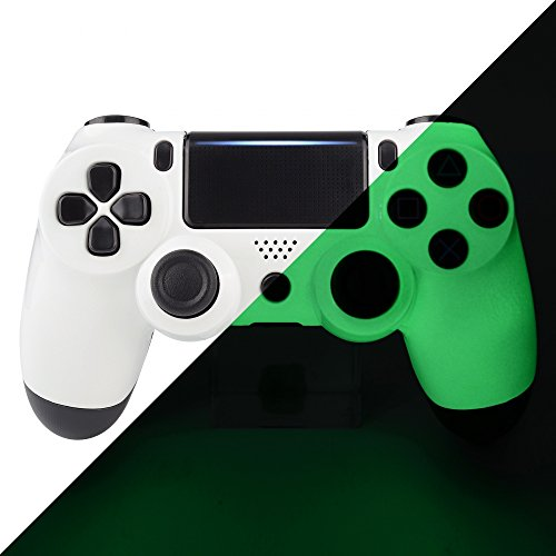 eXtremeRate Soft Touch Front Housing Shell Cover Faceplates for Playstation 4 PS4 Pro Slim Controller CUH-ZCT2 JDM-040 JDM-050 JDM-055 (Glow in The Dark)
